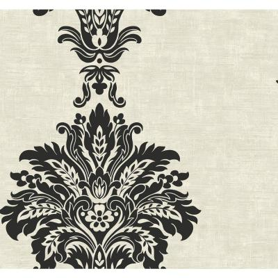 Hollywood Ebony and Off-White Fanned Damask Wallpaper