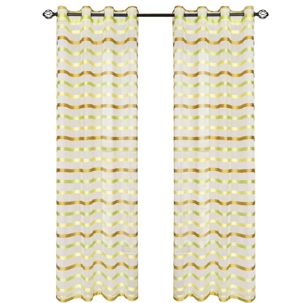 Green Sonya Grommet Curtain Panel, 108 in. Length