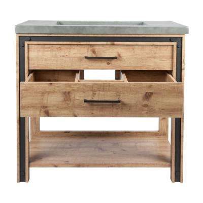 Lake 36 in. W x 21 in. D Bath Vanity in Natural Wood Grain with Faux Cement Vanity Top