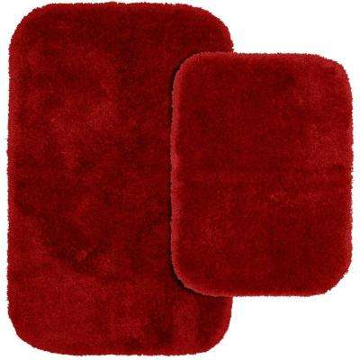 Finest Luxury Chili Pepper Red 21 in. x 34 in. Washable Bathroom 2-Piece Rug Set