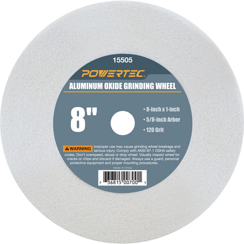 Powertec 8 In X 1 In X 5 8 In 120 Grit White Aluminum