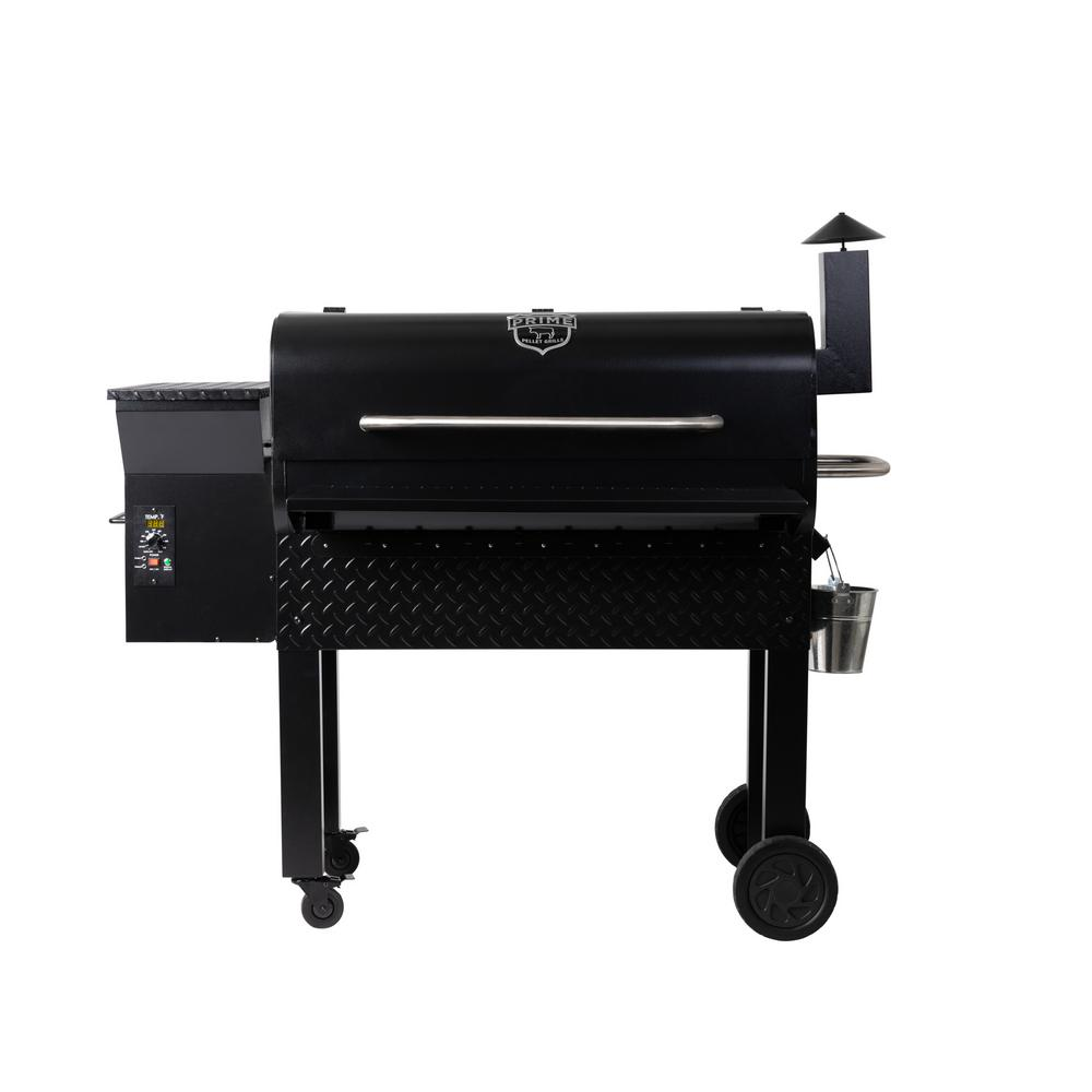 PRIME PELLET GRILLS KC King 950 Pellet Grill in Black Grill, convection oven, slow-roaster, smoker. All of the above. Plus, do it all on auto-pilot with digital temp control and hands-free thermometers. The KC King 950 is the perfect size for bigger families, bigger meals (turkey, anyone.) and bigger fun. The flavors of real hickory, cherry or mesquite hardwood partner with the ease of electric to bring real smoked meat (or fish, veggies or cheese) to your dinner table - no woodpile or messy charcoal required. Color: Black.
