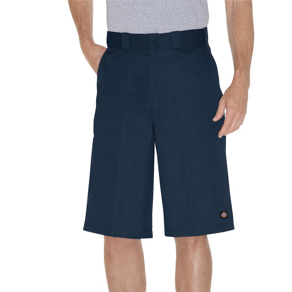 Men's Navy Blue 13 in. Loose Fit Multi-Use Pocket Work Short