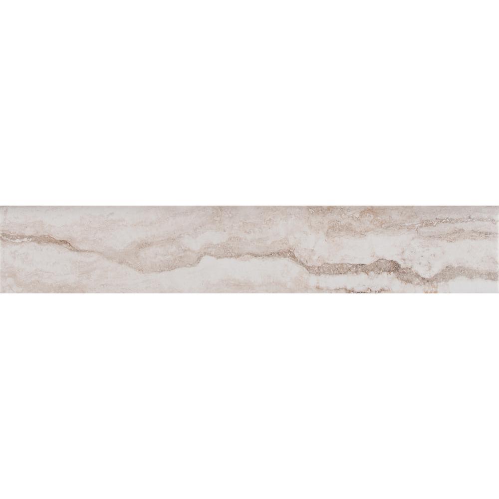 Bernini Bianco 3 in. x 18 in. Porcelain Bullnose Wall Tile
