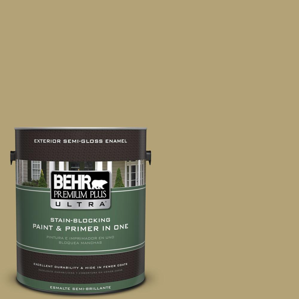 BEHR Premium Plus Ultra 1-gal. #PMD-101 Green Fig Semi-Gloss Enamel Exterior Paint