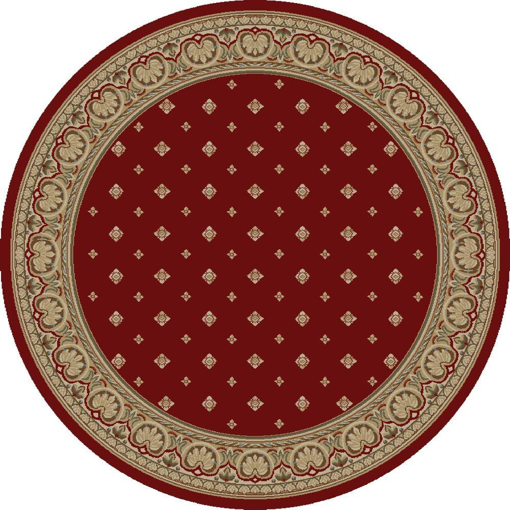 Ankara Pin Dot Red 5 ft. 3 in. Round Area Rug