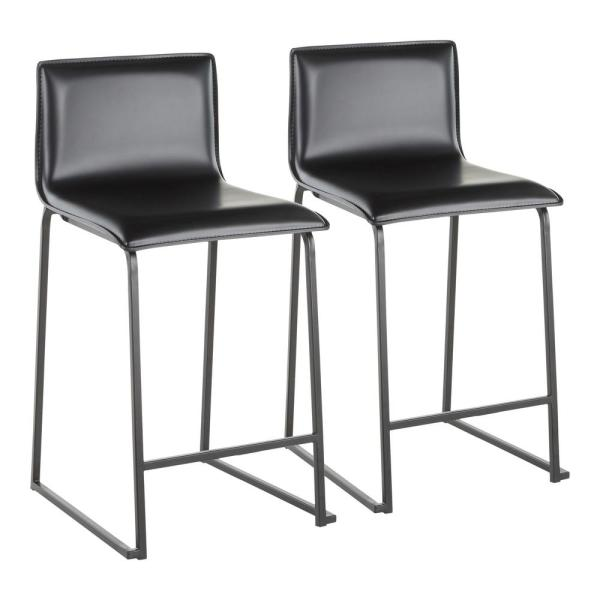 Mara 26 in. Black Faux Leather and Black Metal Counter Stool (Set of 2)