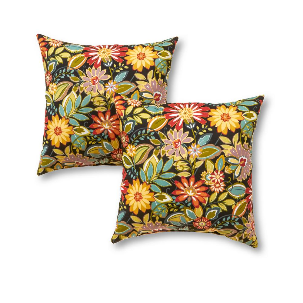 Greendale Home Fashions Jungle Floral Square Outdoor Throw Pillow 2 Pack Oc4803s2 Jungle The Home Depot