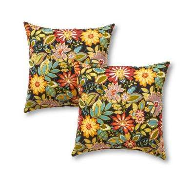 Jungle Floral Square Outdoor Throw Pillow (2-Pack)