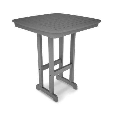 Nautical Slate Grey 37 in. Plastic Outdoor Patio Bar Table