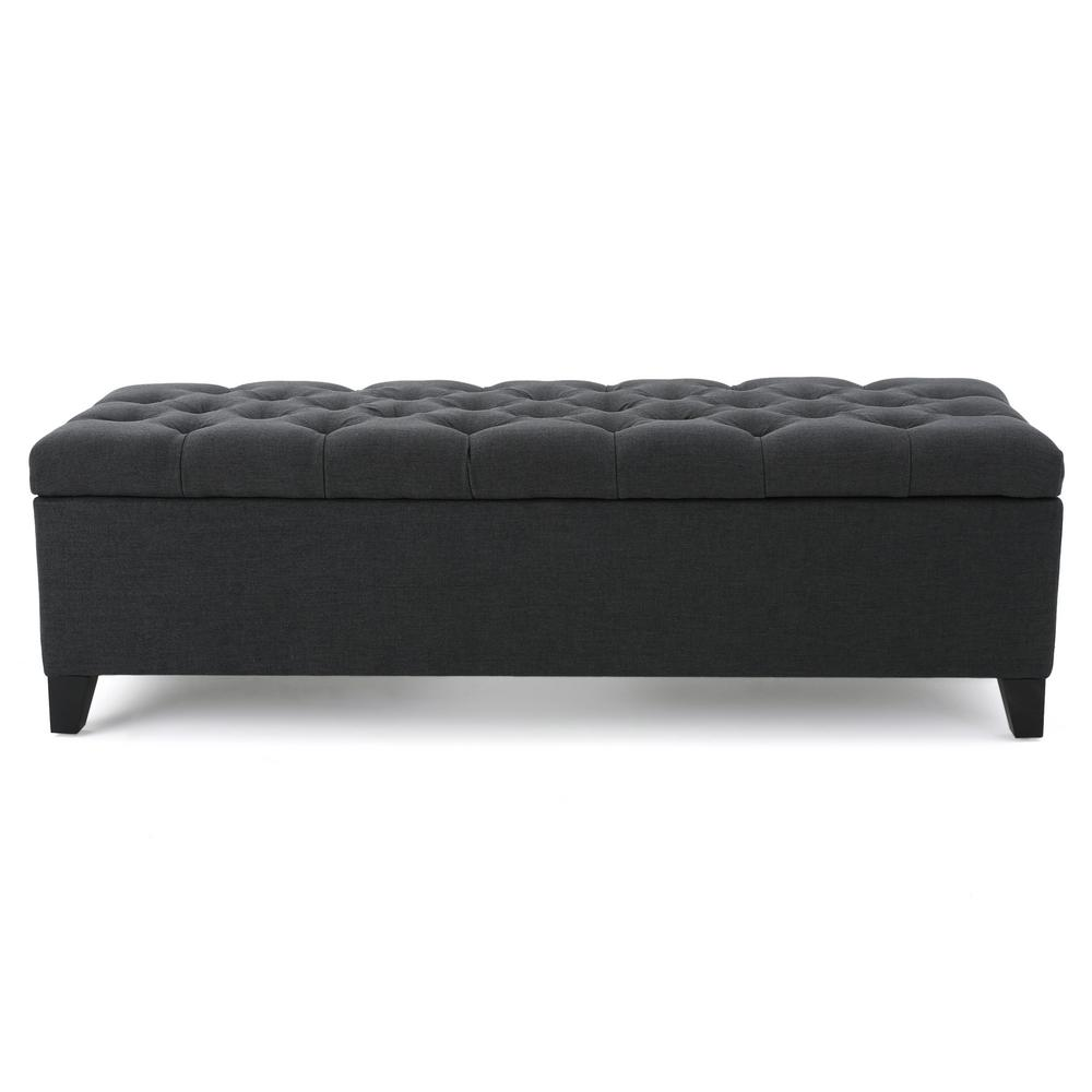 Noble House Dark Gray Tufted Fabric Storage Bench-299768 ...