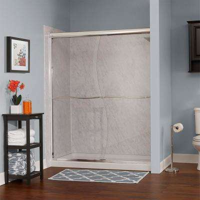 Marina 60 in. W x 72 in. H Frameless Sliding Shower Door in Brushed Nickel