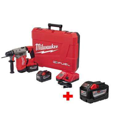 M18 FUEL 18-Volt Lithium-Ion Brushless 1-1/8 in. SDS PLUS Cordless Rotary Hammer 9.0Ah Kit with Free 9.0Ah Battery