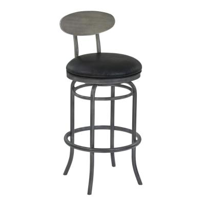 Davis 30 in. Bar Height Mineral Finish with Vintage Black Faux Leather and Grey Walnut Barstool