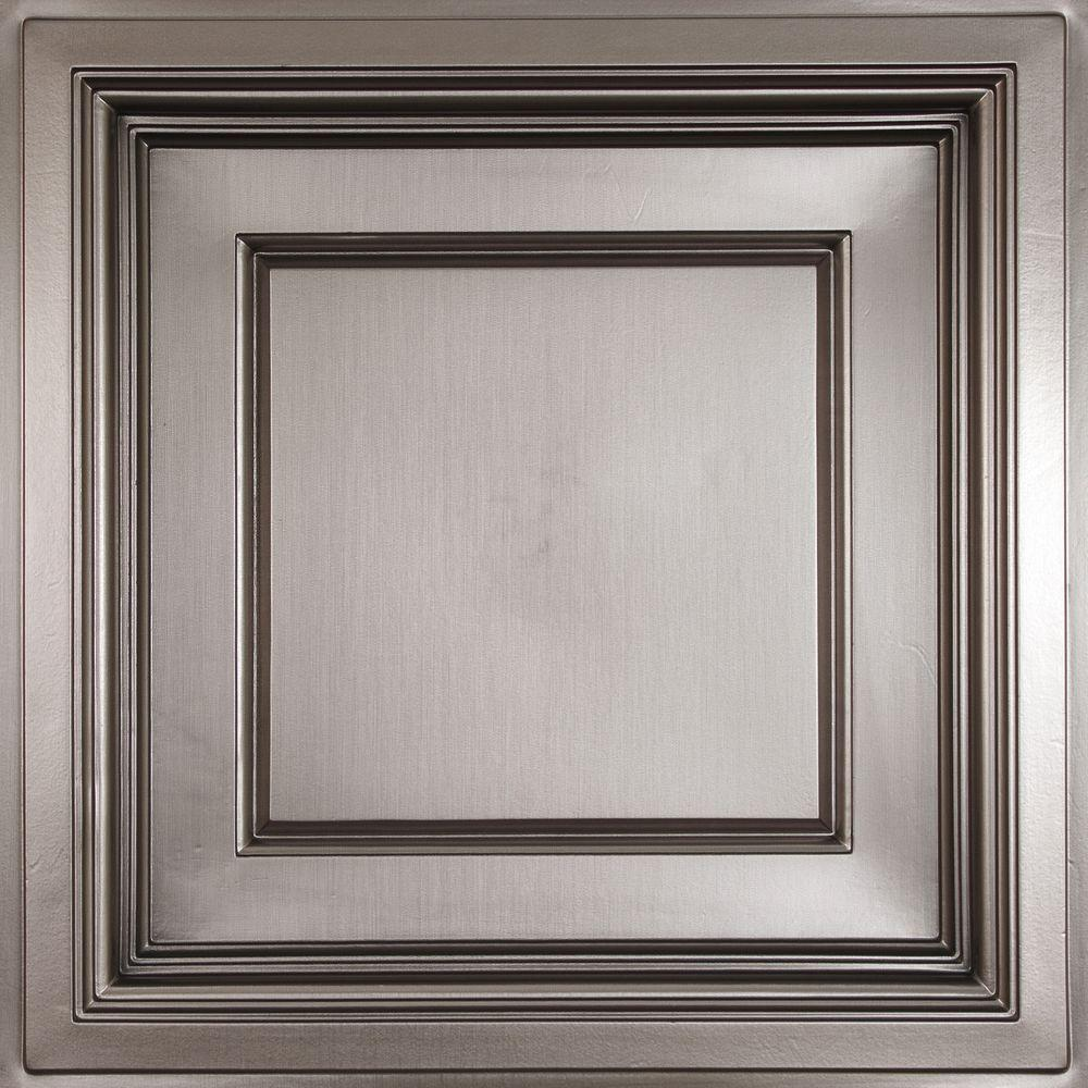 Ceilume Madison Faux Tin 2 ft. x 2 ft. Lay-in Coffered Ceiling Panel (Case of 6)