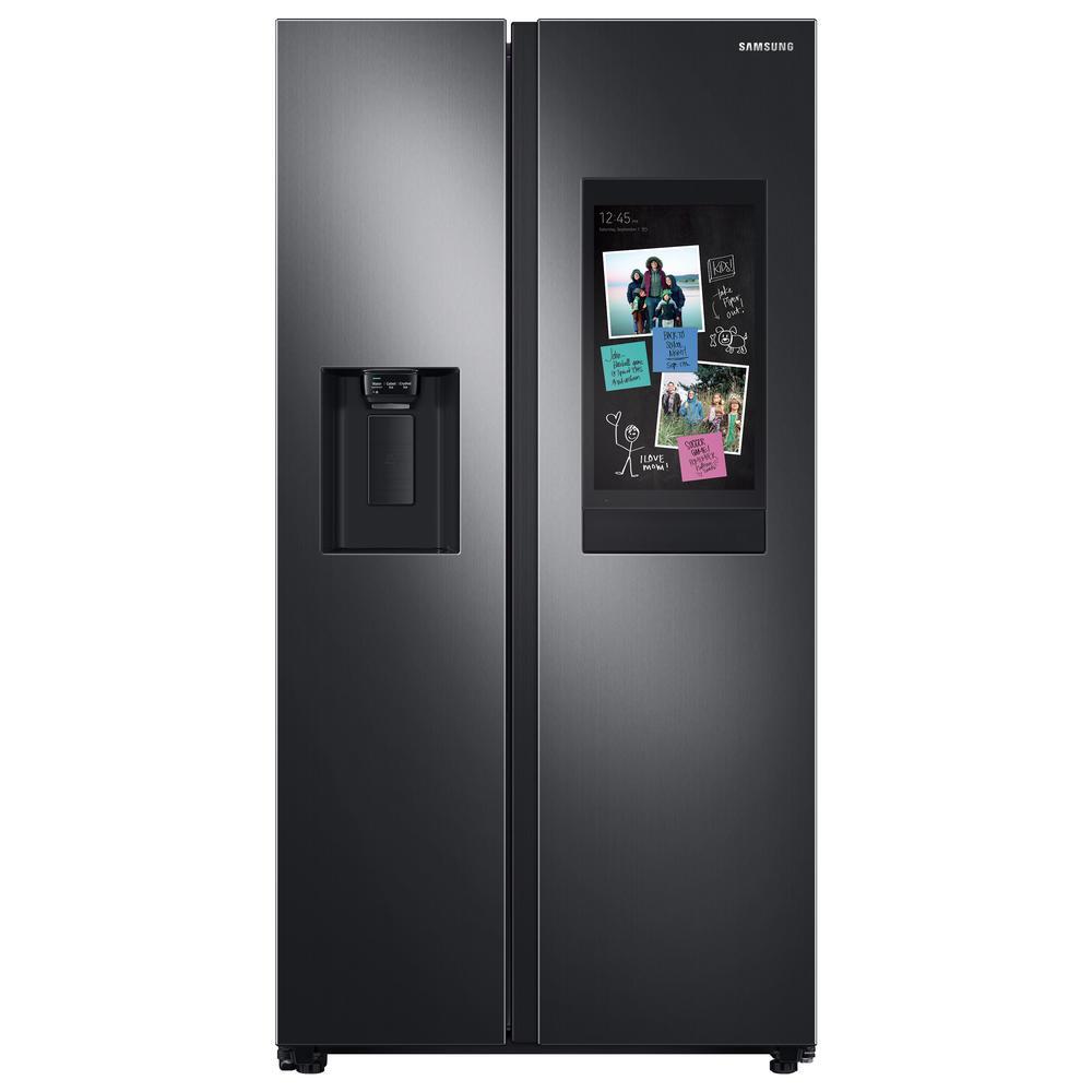 Samsung 26.7 cu. ft. Family Hub Side by Side Smart Refrigerator in Fingerprint Resistant Black Stainless Steel
