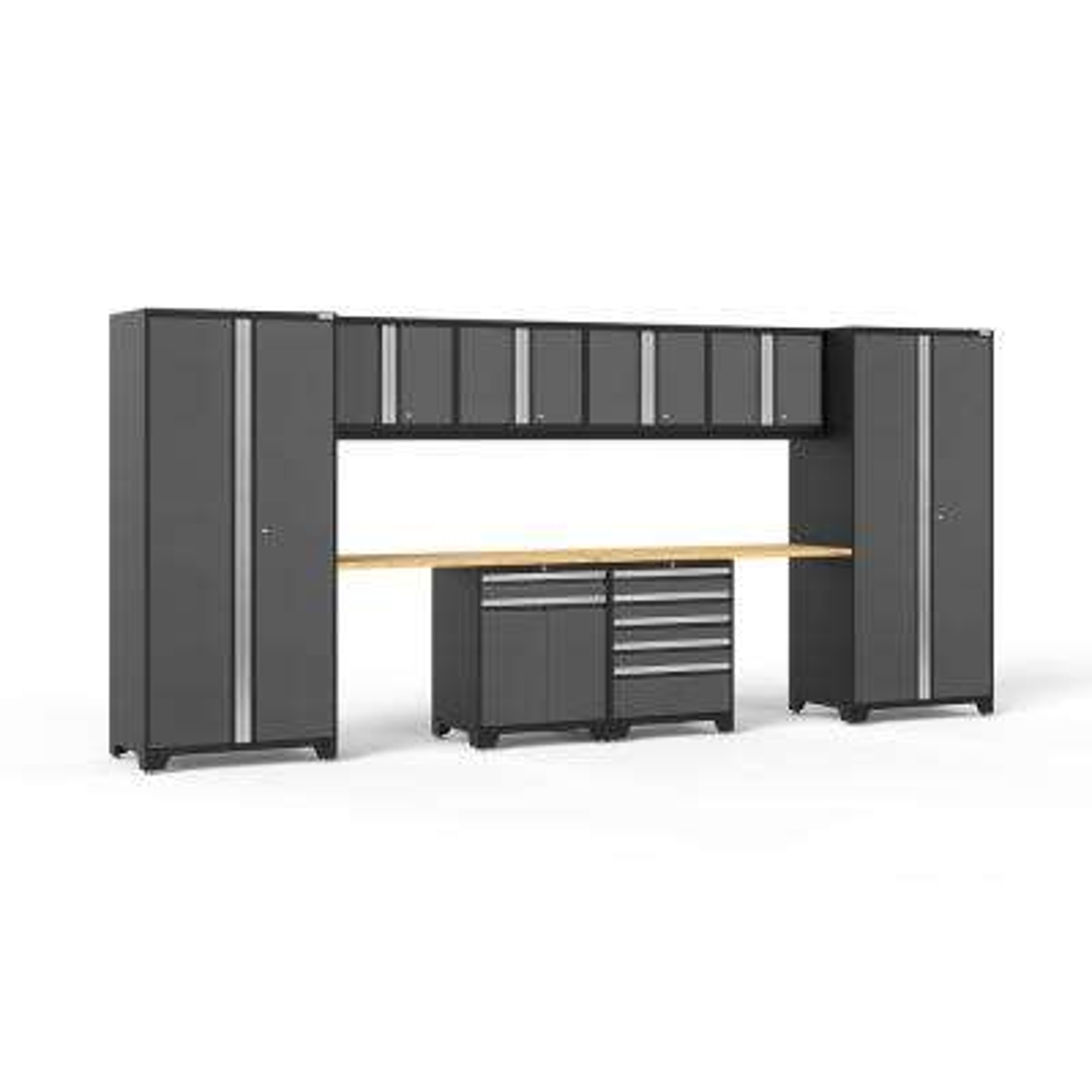Pro 3 Series 184 in. W x 83.25 in. H x 24 in. D 18-Gauge Welded Steel Bamboo Worktop Cabinet Set in Gray (10-Piece)