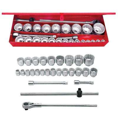1 in. Drive 12-Pointhand Socket & Accessories Set (27-Piece)