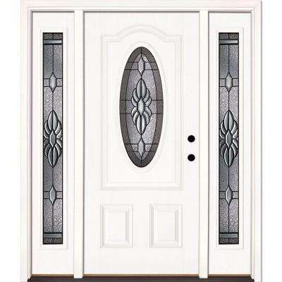63.5 in.x81.625 in. Sapphire Patina 3/4 Oval Lite Unfinished Smooth Left-Hand Fiberglass Prehung Front Door w/ Sidelites