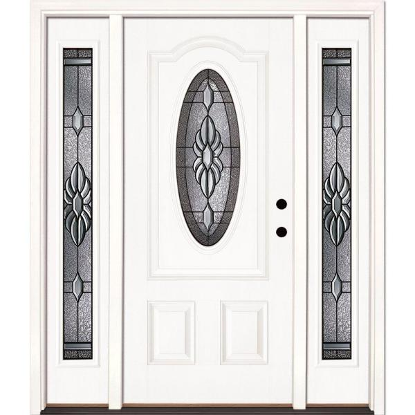 67.5 in.x81.625 in. Sapphire Patina 3/4 Oval Lite Unfinished Smooth Left-Hand Fiberglass Prehung Front Door w/ Sidelites
