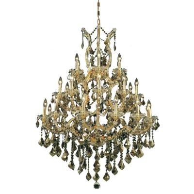28-Light Gold Chandelier with Golden Teak Smoky Crystal