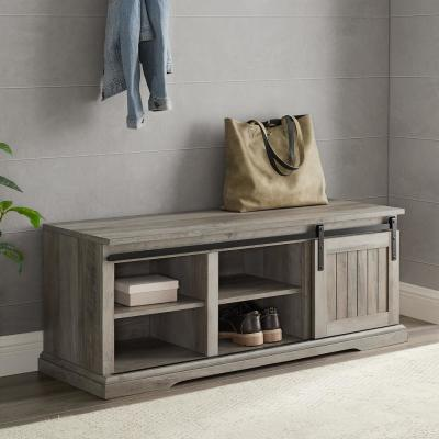 48 in. Grey Wash Sliding Grooved Door Entry Bench