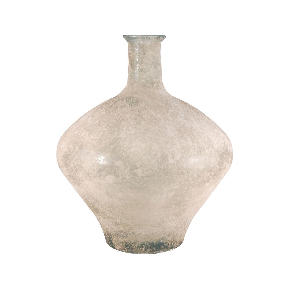Medea 18 in. Glass Decorative Vase in Textured Smoke