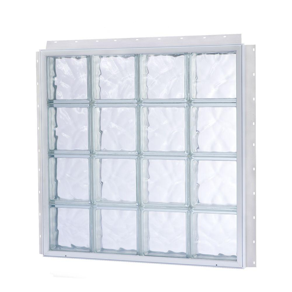 TAFCO WINDOWS NailUp 56 in. x 56 in. x 3-3/4 in. Solid Wave Pattern Glass Block New Construction Window with Vinyl Frame-DISCONTINUED