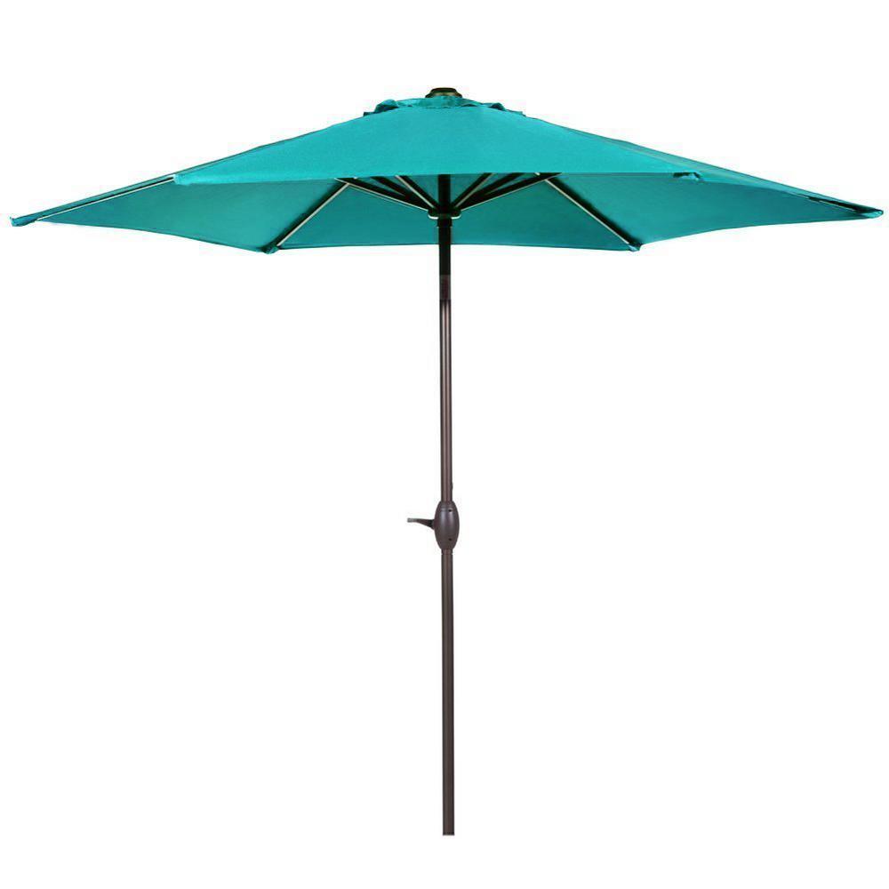 9 ft. Aluminum Market Push Tilt and Crank Patio Umbrella in Turquoise