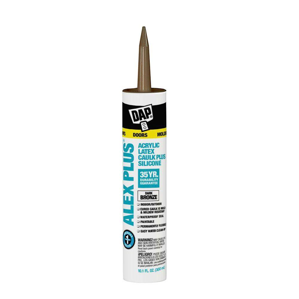 DAP Alex Plus 10.1 oz. Dark Bronze Acrylic Latex Caulk Plus Silicone (12-Pack)
