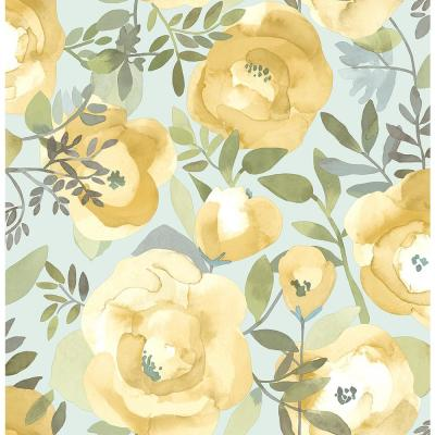 Orla Yellow Floral Yellow Paper Strippable Roll (Covers 56.4 sq. ft.)