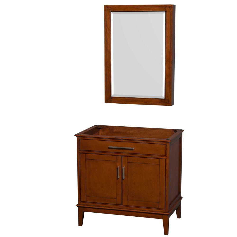 Hatton 35 in. Vanity Cabinet with Mirror Medicine Cabinet in Light