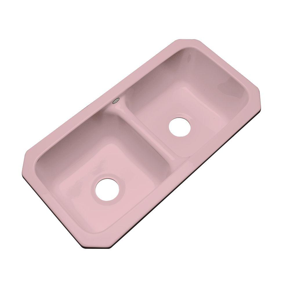 Thermocast Brighton Undermount Acrylic 33x16.5x9 0-Hole Double Basin Kitchen Sink in Dusty Rose