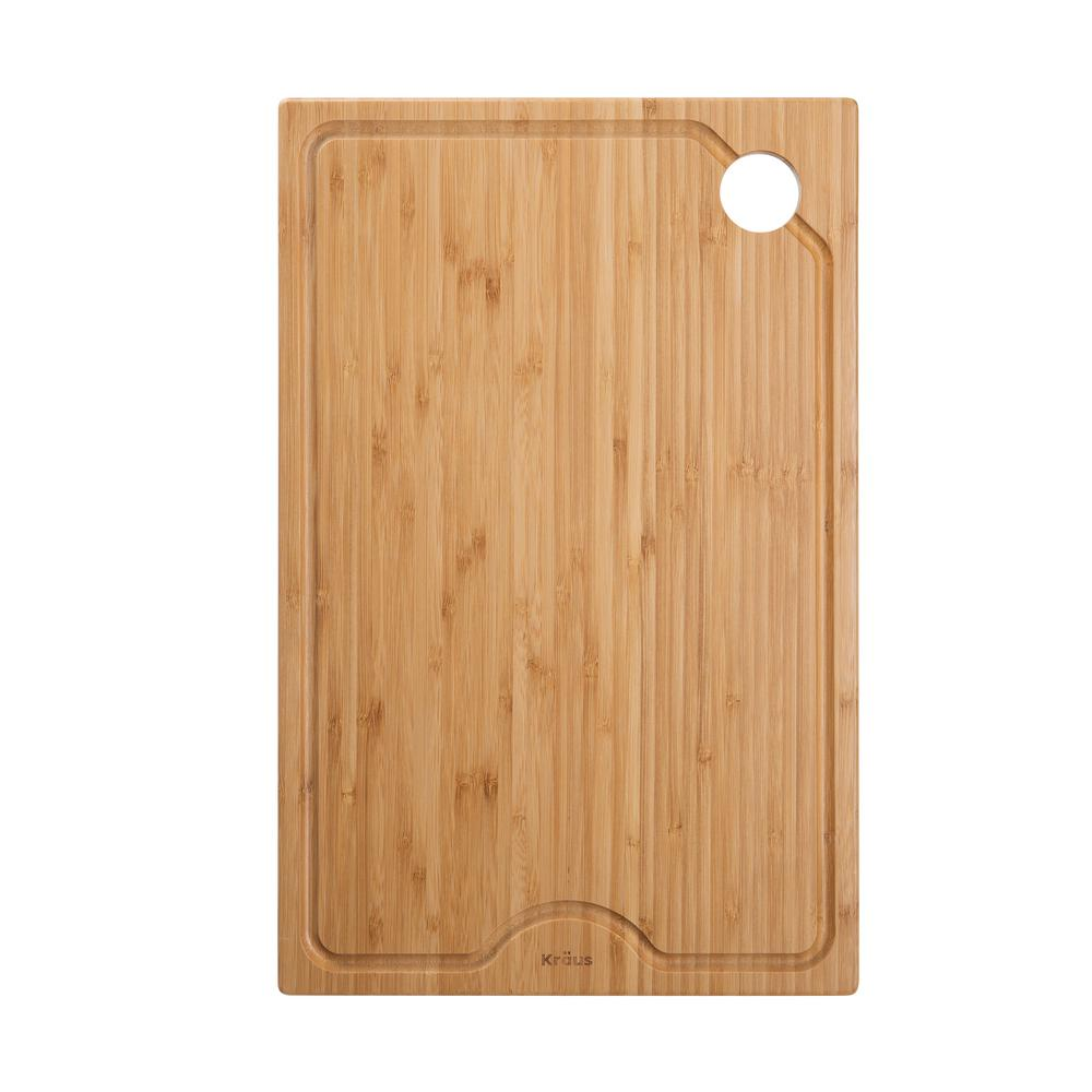 KRAUS Workstation Kitchen Sink 11 in. x 16.75 in. Rectangle Solid Bamboo Cutting Board