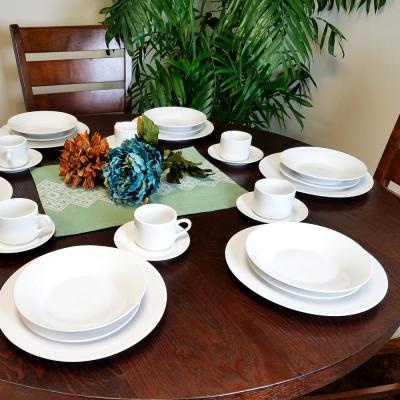 Rosendal 30-Piece Casual White Porcelain Dinnerware Set (Service for 6)