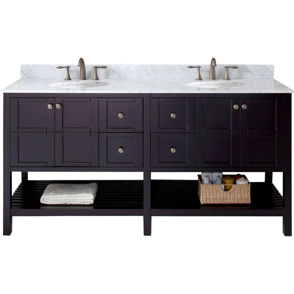 W Bath Vanity In Espresso With Marble Vanity Top In