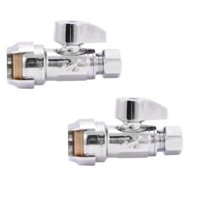 1/2 in. Push-to-Connect x 3/8 in. O.D. Compression Chrome-Plated Brass Quarter-Turn Straight Stop Valve (2-Pack)