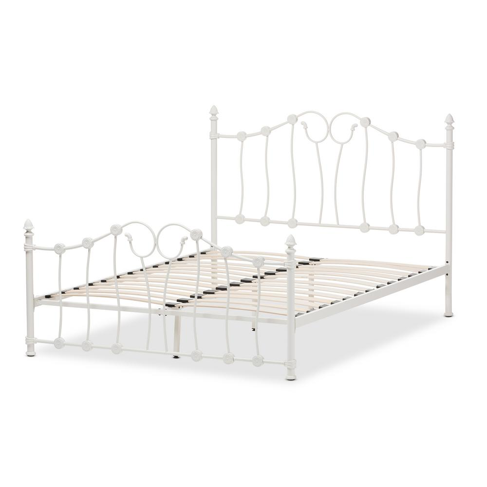 Darcy White Metal Queen Platform Bed