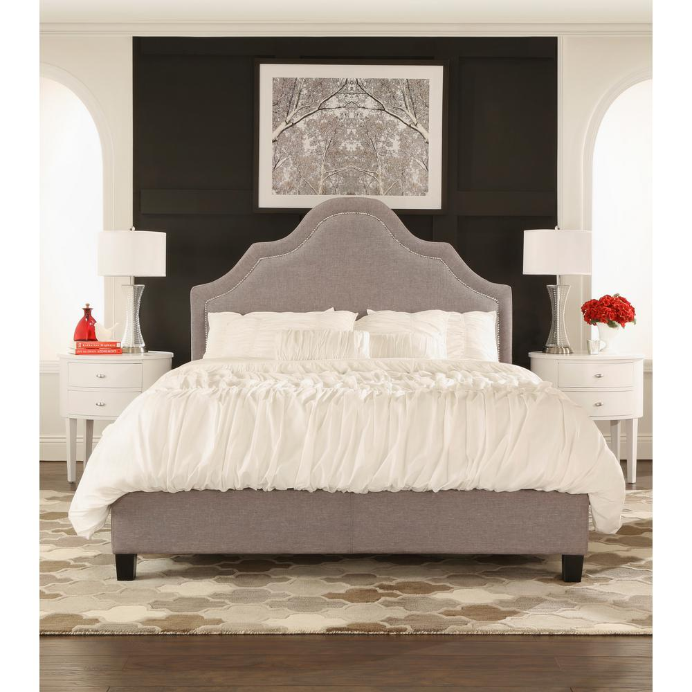 Homesullivan Beauvais Grey Full Upholstered Bed 40e377b012w 3a Bed The Home Depot