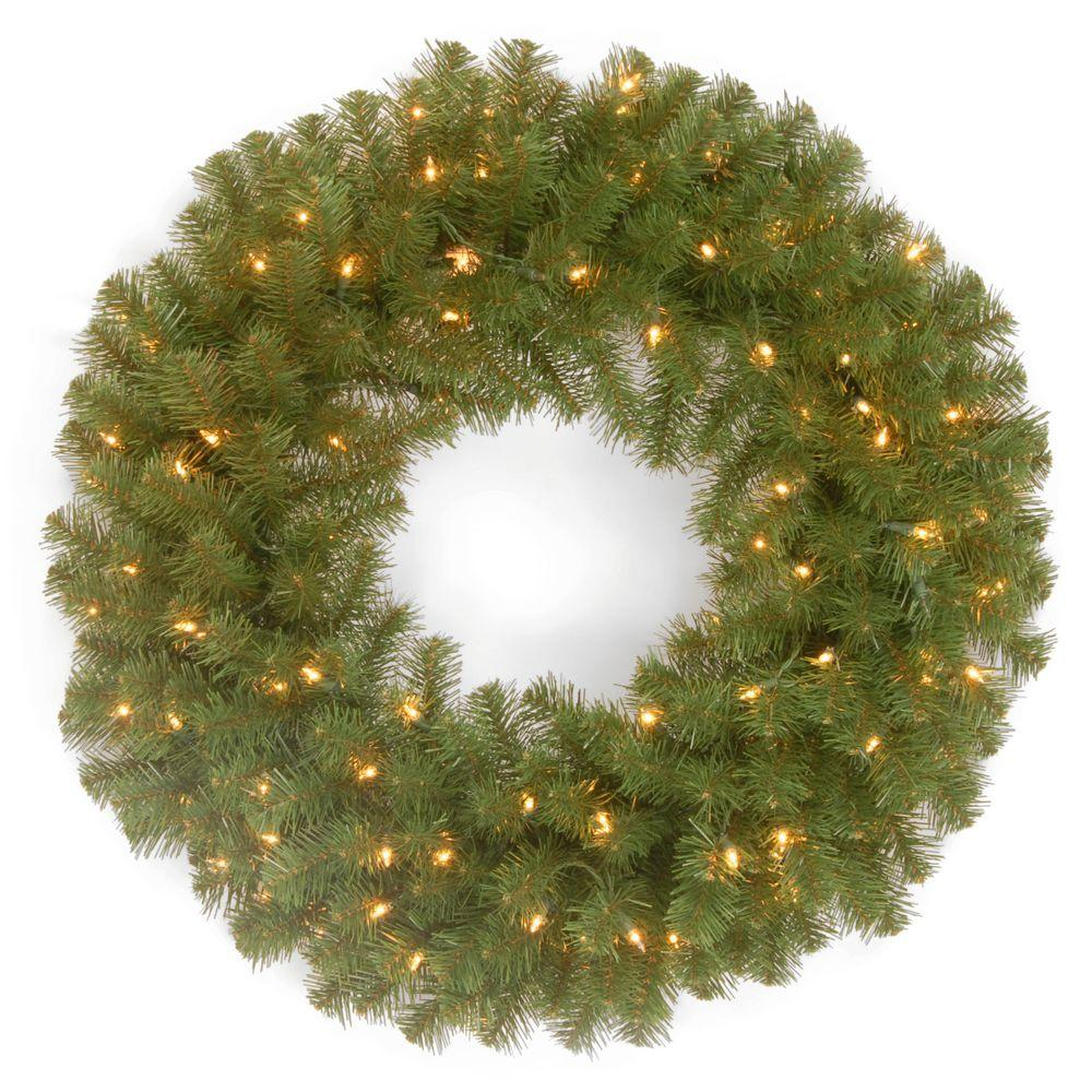 National Tree Company 24 In North Valley Spruce Artificial Wreath With Battery Operated Dual Color