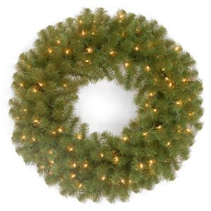24 in. North Valley Spruce Artificial Wreath with Battery Operated Dual Color LED Lights