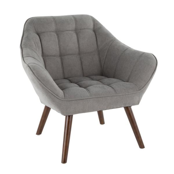 Lumisource Boulder Grey Upholstered Arm Chair