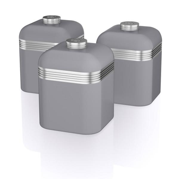Superb Retro 3 Piece Grey Stainless Steel Canisters Best Image Libraries Thycampuscom