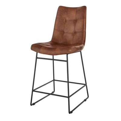 Ivers Black Metal Upholstered Counter Stool with Back and Antique Brown Seat (18.5 in W x 41 in. H)