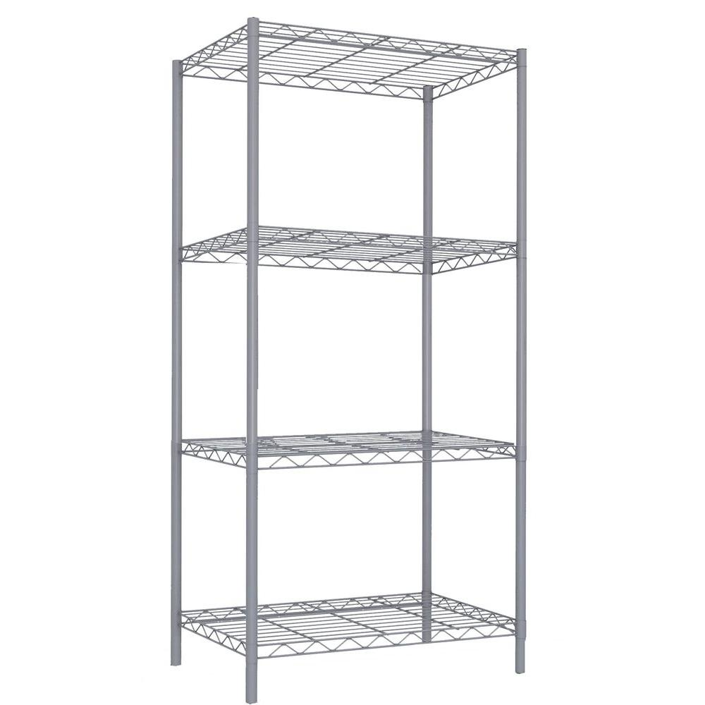 Home Basics 4-Tier 46.5 in. Steel Wire Shelf Gray-WS00691 - The Home ...