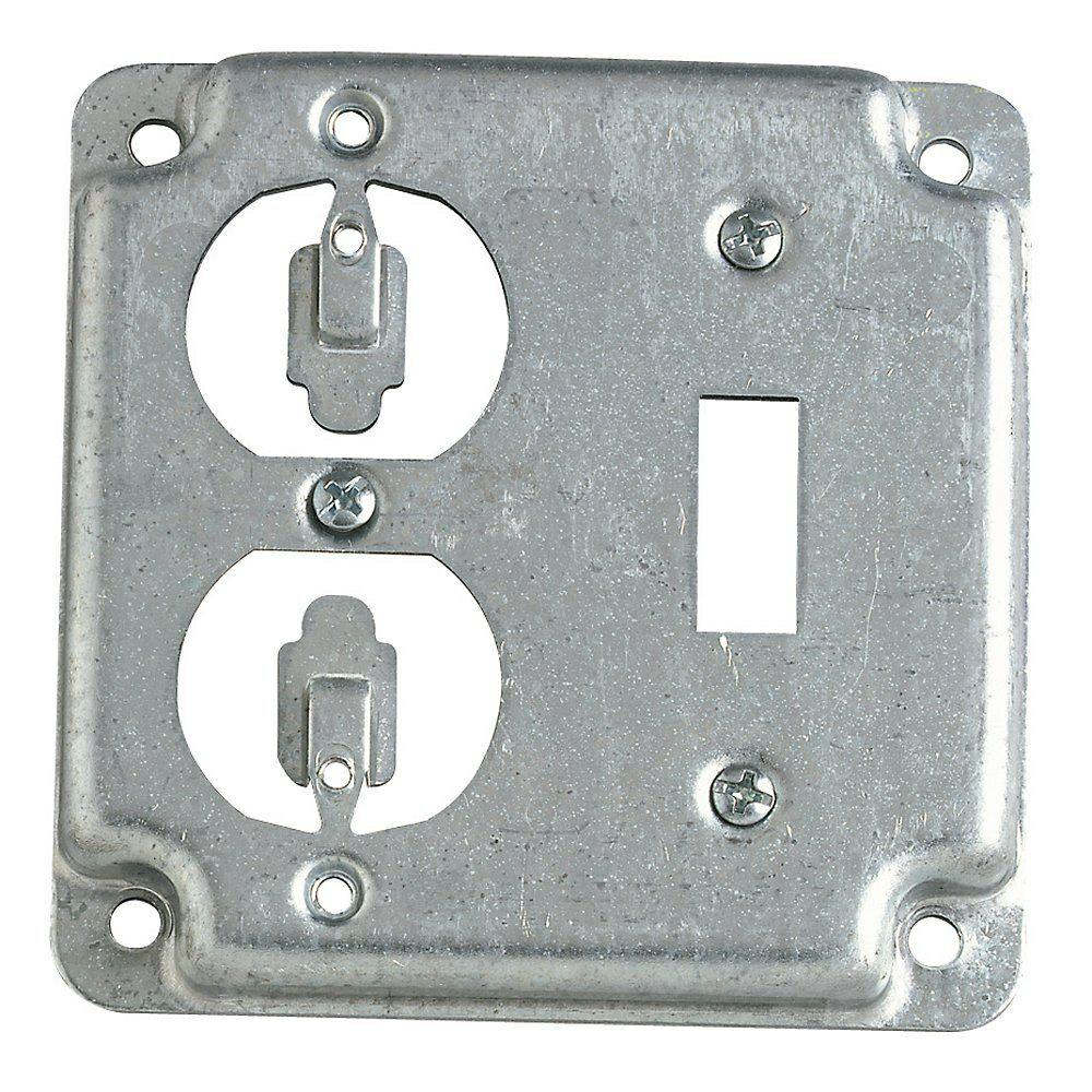 Covers Electrical Boxes Conduit Fittings The Home Depot House Fuse Box Cover Rs Duplex Toggle Switch Square Silver