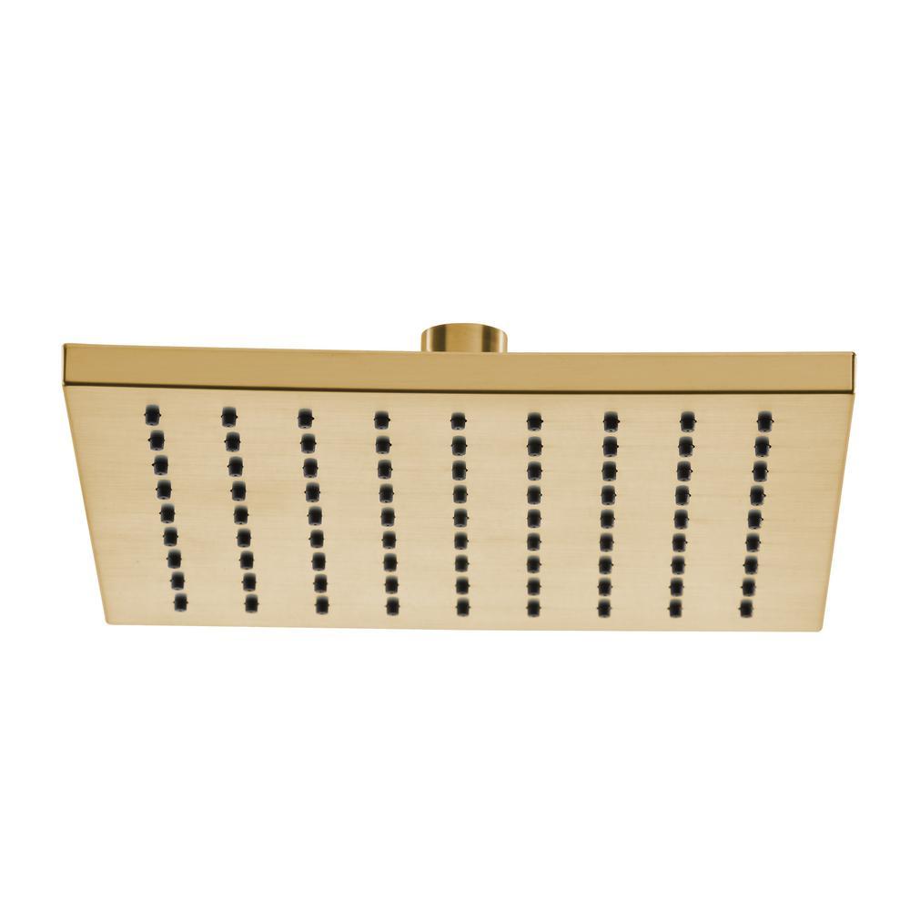 Modern 1-Spray 8.8 in. Single Wall Mount Fixed Rain Shower Head in Matte Gold