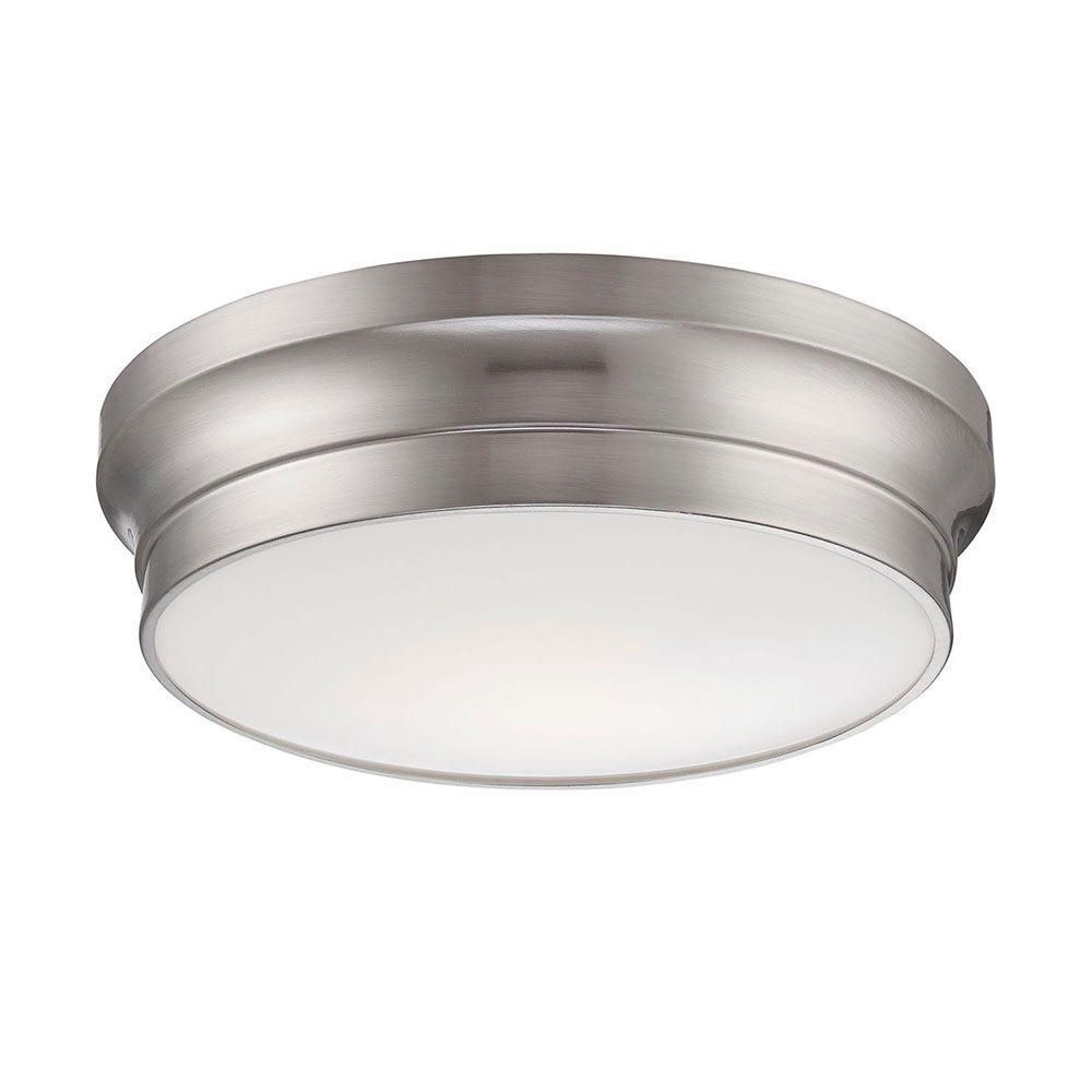 Jane Collection 1-Light Satin Nickel LED Flushmount