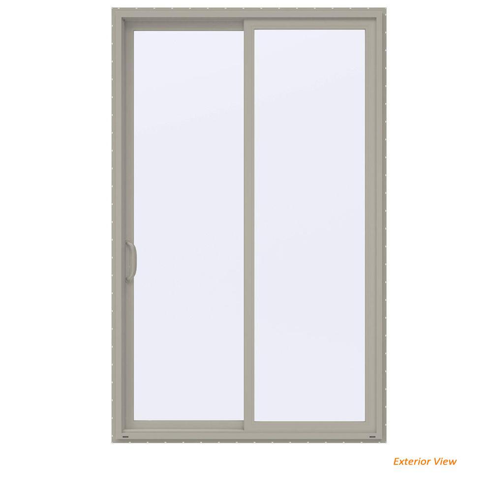 60 in. x 96 in. V-4500 Contemporary Desert Sand Vinyl Left-Hand Full Lite Sliding Patio Door