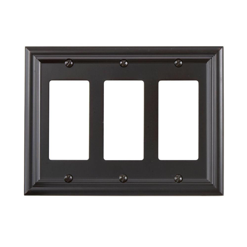 Amerelle Continental 3 Decora Wall Plate - Oil Rubbed Bronze